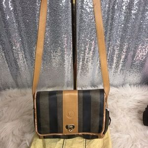 Fendi zucca brown striped crossbody vintage as is
